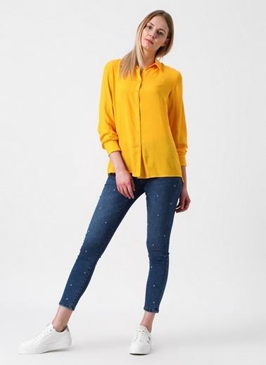 Vero Moda Vero Moda 10208664 Taş İşlemeli Skinny Kadın Denim Pantolon Renksiz